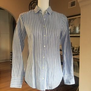 J. Crew Perfect Shirt in Striped Cotton Linen (00)